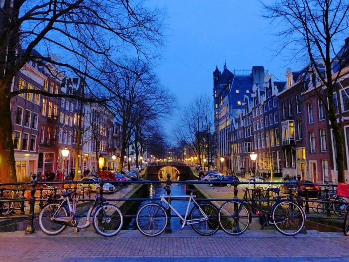 River Europe Canals Netherlands Bike Amsterdam